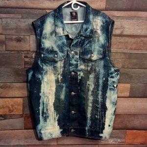 Men's Southpole Distressed Jean Vest Size 4XL